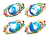 Vector clipart: Globes and arrows