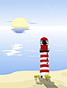 Vector clipart: Lighthouse on the beach