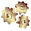 Vector clipart: 3D gears in gold