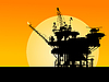 Нефтянаяплатформа в море на закате