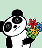 Panda mit Blumen