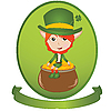 Vector clipart: St. Patrick's Day celebration card with Leprechaun