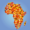 Africa map of autumn leaves