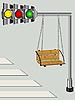 Vector clipart: Children swing on traffic lights