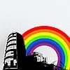 Векторный клипарт: Городская панорама и радуга