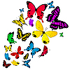 Vector clipart: Colored butterflies background