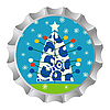 Vector clipart: Retro bottle cap with Christmas tree and snowflakes