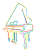 在白色大钢琴 | 向量插图