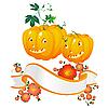 Vector clipart: Halloween pumpkins and banner