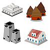 Vector clipart: Isometric icon set of buildings