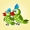 Vector clipart: a couple of green birds