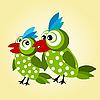 Векторный клипарт: пара зеленых птиц