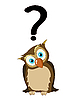 Vector clipart: Owl with question mark
