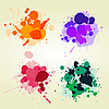 Vector clipart: Colored paint splats