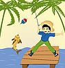 Vector clipart: Boy fishing