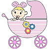 Vector clipart: Baby in stroller