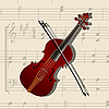 Vector clipart: Music background with violin