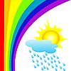 Векторный клипарт: радуга и дождь под солнцем