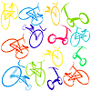 Vector clipart: Background with bikes