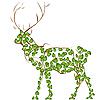 Векторный клипарт: стилизованный олень из листвы