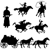 Vector clipart: cowboys silhouettes