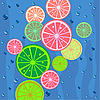 Vector clipart: Lemons slices background