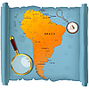 Vector clipart: South America map on roll