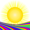 Vector clipart: Sun and rainbow