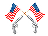 Vector clipart: USA flags and guns