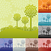 Landscapes with trees | Stock Illustration