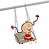 Vector clipart: Girl on swing