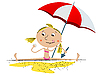 Vector clipart: Girl playing at the beach