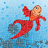 Vector clipart: Red fish puzzle