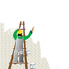 Vector clipart: Man painting