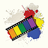Vector clipart: Grunge rainbow film tape