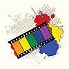 Векторный клипарт: кинопленка из цветов радуги