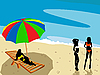 Vector clipart: Ladies on the beach
