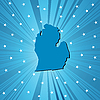 Vector clipart: Blue Michigan map