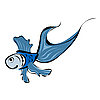 Vector clipart: Cute blue fish