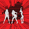 Vector clipart: Girls silhouettes