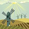 Windmills landscape  | Stock Illustration