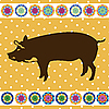 Vector clipart: Retro pig