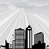 Vector clipart: City and sun rays