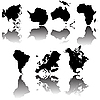 Continent map silhouettes | Stock Vector Graphics