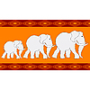 Vector clipart: pattern with three elephants