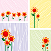 Vector clipart: Floral cards
