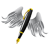 Vector clipart: Golden pen with wings