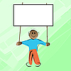 Vector clipart: Little kid holding banner