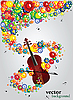 Vector clipart: Floral design with violin