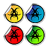 Vector clipart: Radiation warning stickers